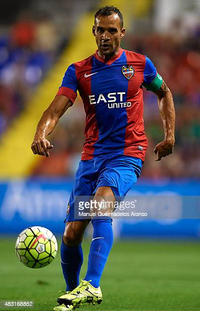 Juanfran of Levante runs with the ball during a Pre Season Friendly match between Levante UD and Villarreal CF at Ciutat de Valencia Stadium on...