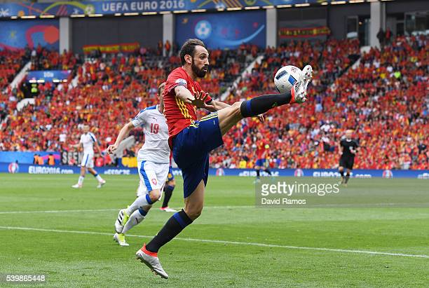 Juanfran of Spain controls the ball during the UEFA EURO 2016 Group D match between Spain and Czech Republic at Stadium Municipal on June 13, 2016 in...