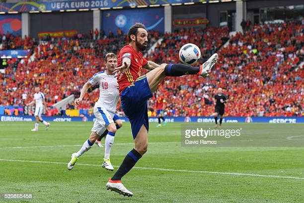 Juanfran of Spain controls the ball during the UEFA EURO 2016 Group D match between Spain and Czech Republic at Stadium Municipal on June 13 2016 in...