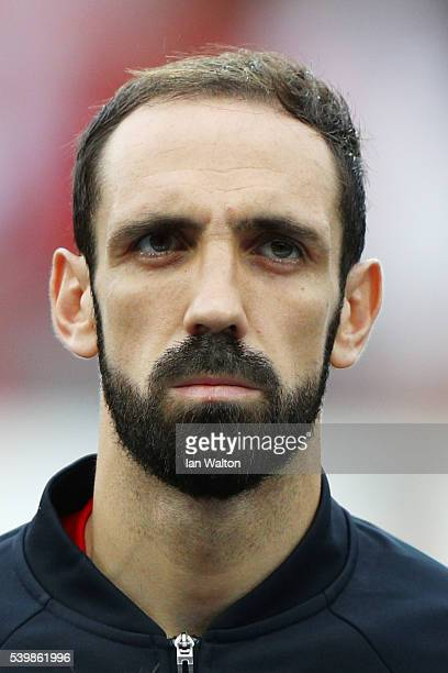 Juanfran of Spain is seen prior to the UEFA EURO 2016 Group D match between Spain and Czech Republic at Stadium Municipal on June 13 2016 in Toulouse...