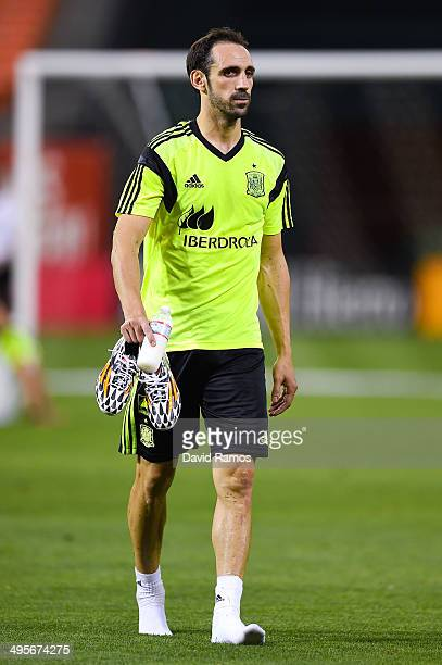 Juanfran of Spain looks on during a training session of the Spain National Team at the Robert F Kennedy Stadium on June 4 2014 in Washington DC