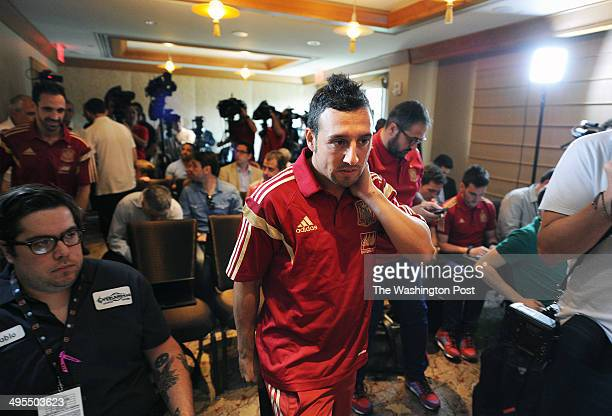 Juanfran Torres top left and Santiago 'Santi' Cazorla center of the national soccer team of Spain arrive for a press conference at Mandarin Oriental...
