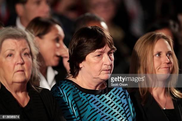 Juanita Broaddrick and Kathy Shelton sit before the town hall debate at Washington University on October 9 2016 in St Louis Missouri This is the...