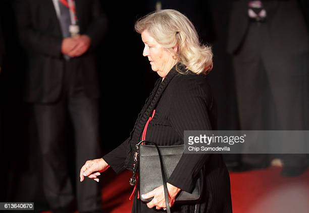 Juanita Broaddrick arrives before the town hall debate at Washington University on October 9 2016 in St Louis Missouri This is the second of three...