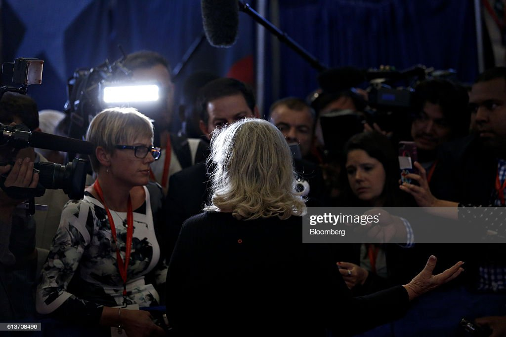 Juanita Broaddrick speaks to members of the media in the spin room after the second U.S. presidential debate at Washington University in St. Louis, Missouri, U.S., on Sunday, Oct. 9, 2016. Donald Trump and Hillary Clinton combined salacious charges about past sexual scandals with sober discussion of substantive topics during their second presidential debate Sunday night following a weekend of unprecedented crisis in the Republican nominee's campaign. Photographer: Andrew Harrer/Bloomberg via Getty Images