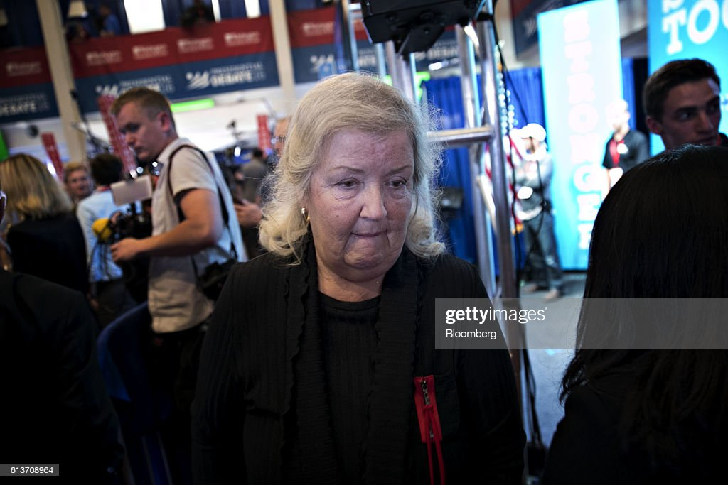 Juanita Broaddrick walks through the spin room after the second U.S. presidential debate at Washington University in St. Louis, Missouri, U.S., on Sunday, Oct. 9, 2016. Donald Trump and Hillary Clinton combined salacious charges about past sexual scandals with sober discussion of substantive topics during their second presidential debate Sunday night following a weekend of unprecedented crisis in the Republican nominee's campaign.. Photographer: Daniel Acker/Bloomberg via Getty Images