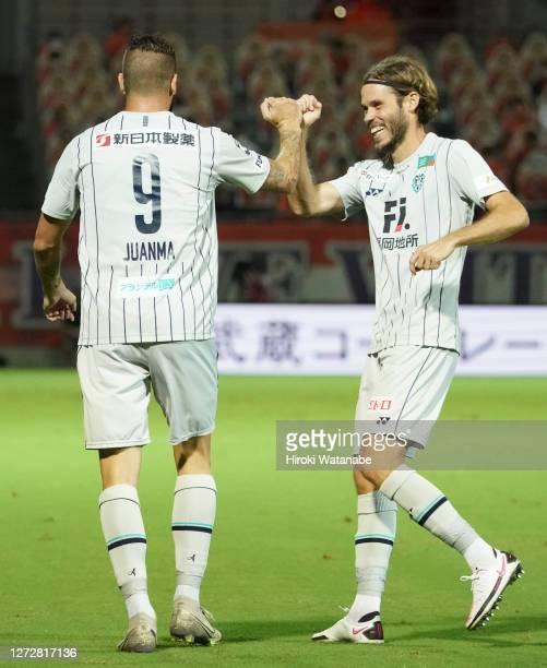 Juanma Delgado of Avispa Fukuoka celebrates scoring his team's first goal during the J.League Meiji Yasuda J2 match between Omiya Ardija and Avispa...