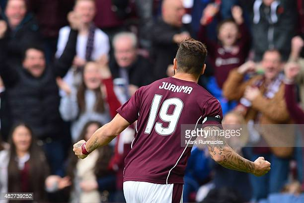 Juanma Delgado of Hearts celebrates scoring a goal early in the first half past St Johnstone goal keeper Alan Mannus during the Ladbrokes Scottish...