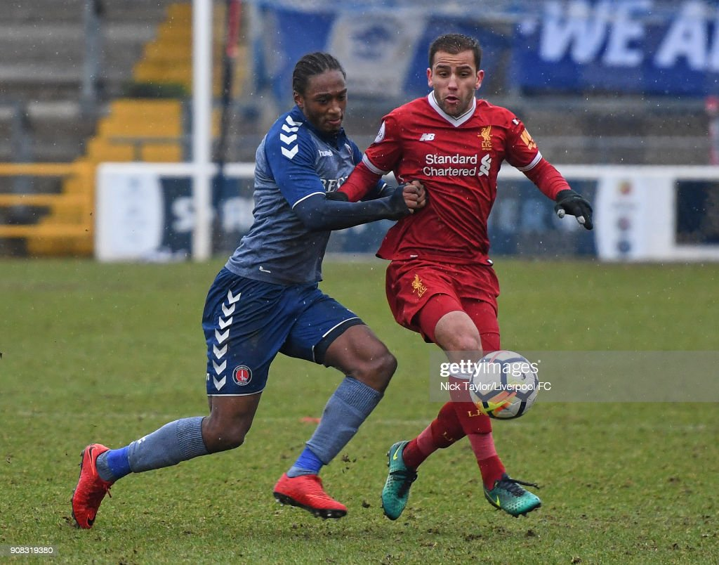 Juanma Garcia of Liverpool and Brandon Hanlan of Charlton Athletic in action during the Liverpool U23 v Charlton Athletic U23 Premier League Cup game at The Swansway Chester Stadium on January 21, 2018 in Chester, England.