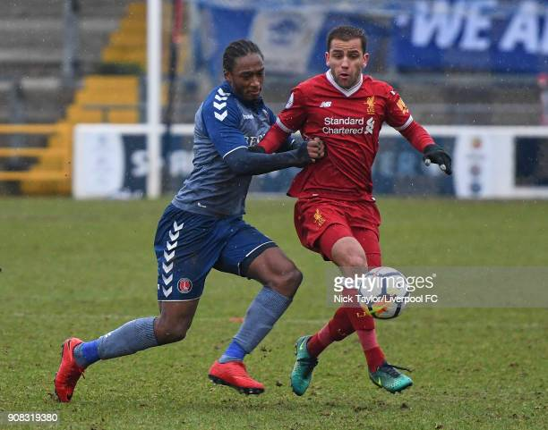 Juanma Garcia of Liverpool and Brandon Hanlan of Charlton Athletic in action during the Liverpool U23 v Charlton Athletic U23 Premier League Cup game...