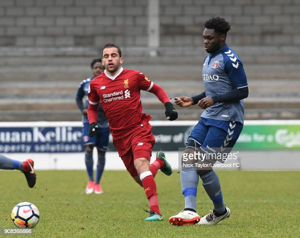 Juanma Garcia of Liverpool and Kenneth Yao of Charlton Athletic in action during the Liverpool U23 v Charlton Athletic U23 Premier League Cup game at...