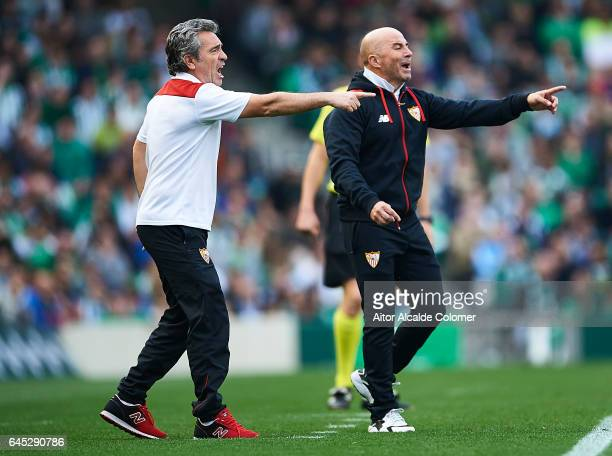 Juanma Lillo second coach of Sevilla FC and Head Coach of Sevilla FC Jorge Sampaoli reacts during La Liga match between Real Betis Balompie and...