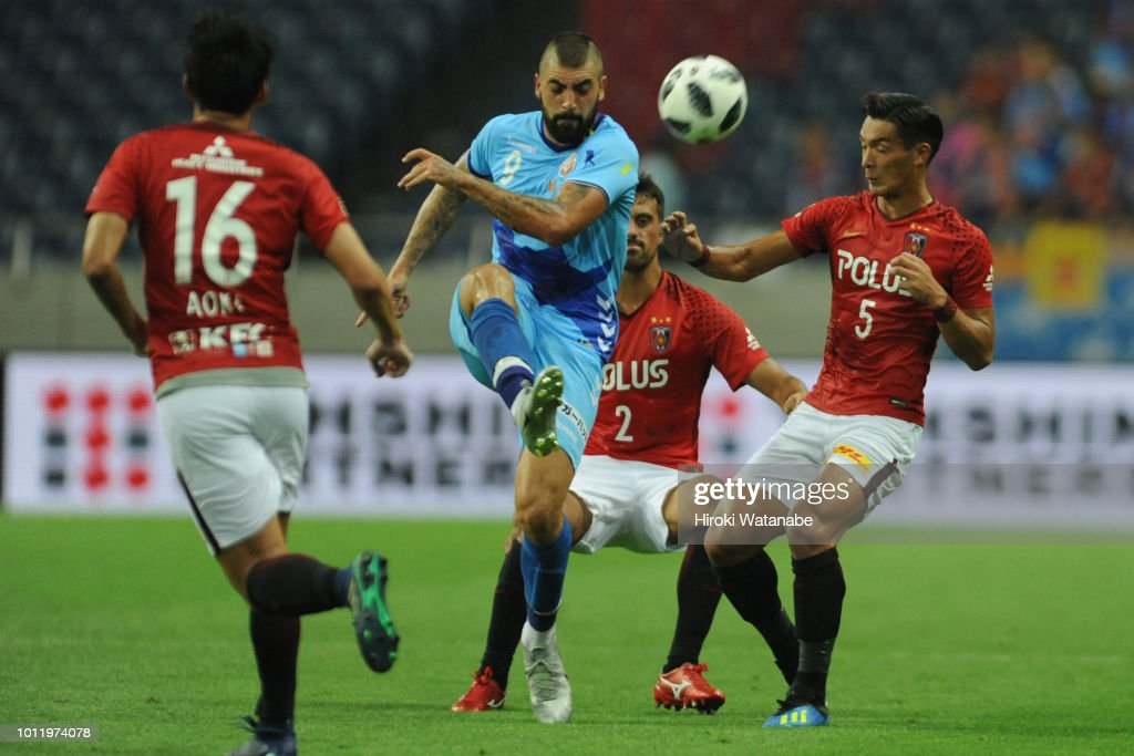 Juanma of V-Varen Nagasaki in action during the J.League J1 match between Urawa Red Diamonds and V-Varen Nagasaki at Saitama Stadium on August 5, 2018 in Saitama, Japan.