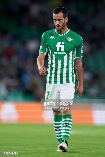 Juanmi Jimenez of Real Betis looks on during the UEFA Europa League group G match between Real Betis and Bayer Leverkusen at Estadio Benito...