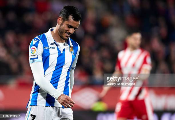 Juanmi Jimenez of Real Sociedad reacts after missing a chance of goal during the La Liga match between Girona FC and Real Sociedad at Montilivi...