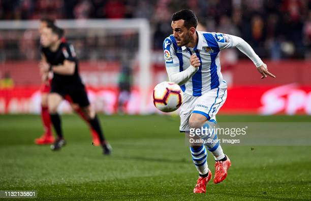 Juanmi Jimenez of Real Sociedad runs behind the ball during the La Liga match between Girona FC and Real Sociedad at Montilivi Stadium on February 25...