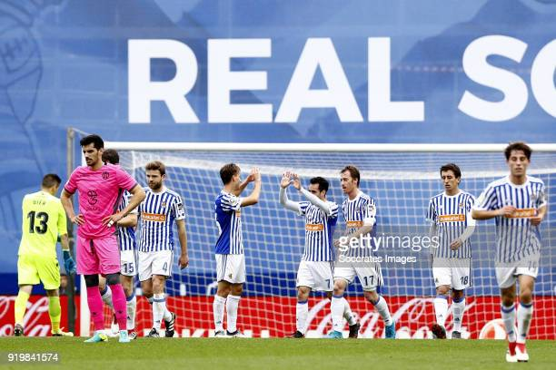 Juanmi of Real Sociedad celebrates 20 with Aritz Elustondo of Real Sociedad Asier Illarramendi of Real Sociedad David Zurutuza of Real Sociedad Mikel...