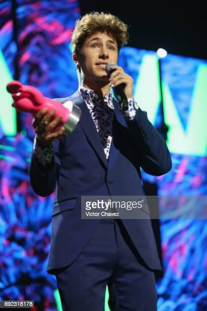 Juanpa Zurita speaks on stage during the MTV MIAW Awards 2017 at Palacio de Los Deportes on June 3, 2017 in Mexico City, Mexico.