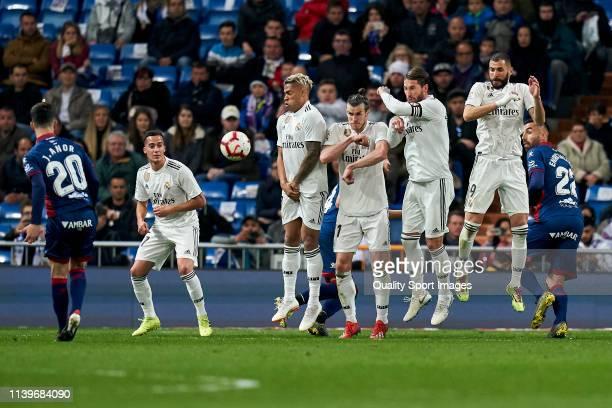 Juanpi Anor of SC Huesca takes a free kick during the La Liga match between Real Madrid CF and SD Huesca at Estadio Santiago Bernabeu on March 31...