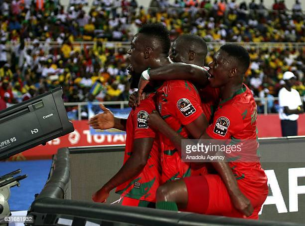 Juary Soares of Gabon celebrates scoring a goal with his team mates during the Africa Cup of Nations 2017 match between Gabon and GuineaBissau at the...