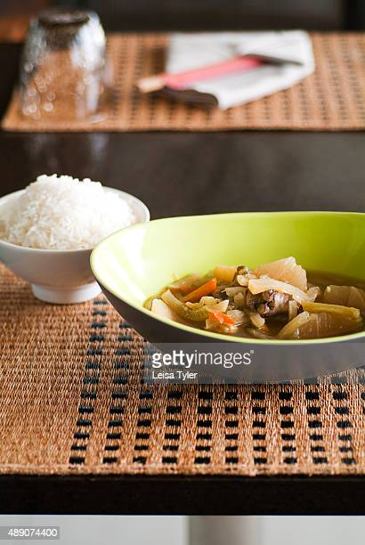 Jub chay stewed chicken with vegetable Baba cuisine cooked by Hokkien Chinese migrants who moved to Phuket from the Straits Chinese settlements in...
