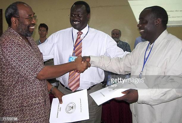 Ugandan Interior minister Ruhakana Ruganda chief mediator and vice president of southern Sudan Riek Machar and Martin Ojul leader of the Lord's...