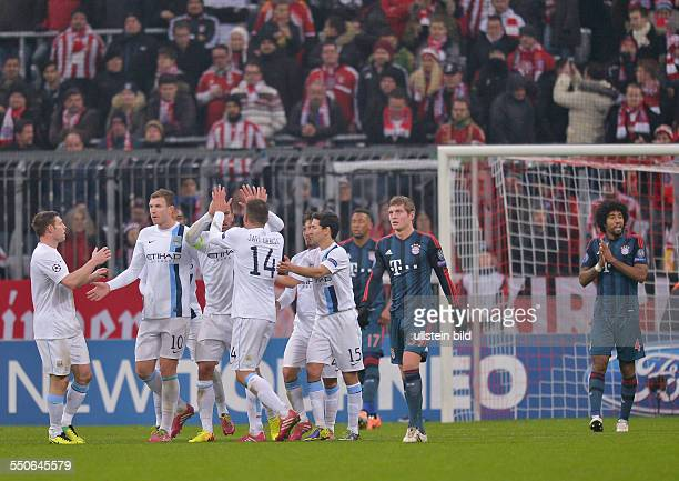 Jubel bei den Spielern von Manchester City nach dem Ausgleichstreffer zum 22 waehrend dem 6 Spieltag der Gruppe D UEFA Champions League FC Bayern...