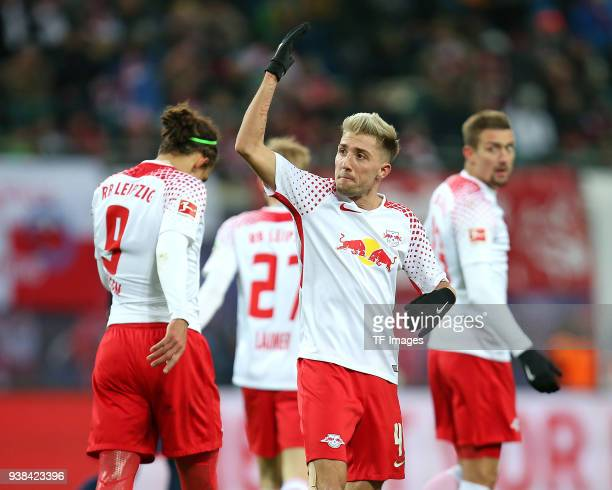 Jubel Kevin Kampl of Leipzig gestures during the Bundesliga match between RB Leipzig and FC Bayern Muenchen at Red Bull Arena on March 18 2018 in...