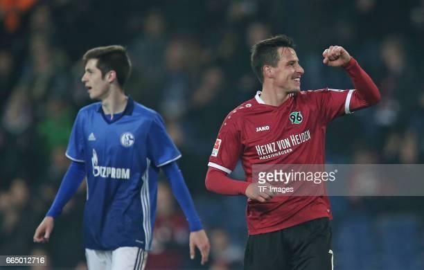 Jubel Torschuetze Edgar Prib zum Tor zum 21 and Tobias Fleckstein 'n during the friendly match between Hannover 96 an FC Schalke 04 at HDIArena on...