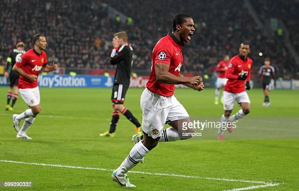 JUbel von Antonio Valencia Manchester United nach dem 01 Championsleague Fussball Bayer Leverkusen Manchester United Saison 2013/ 2014