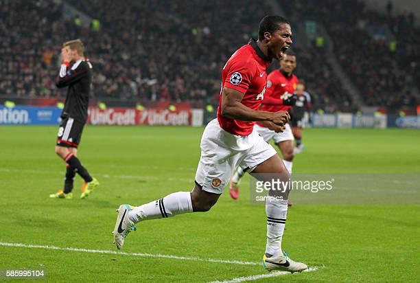 JUbel von Antonio Valencia Manchester United nach dem Tor zum 01 Championsleague Fussball Bayer Leverkusen Manchester United Saison 2013/ 2014