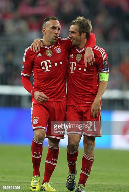 jubel von Franck RIBERY FC Bayern München Phlipp LAHM FC Bayern München Fussball Championsleague Quaterfinal Viertelfinale Saison 2013 / 2014 FC...