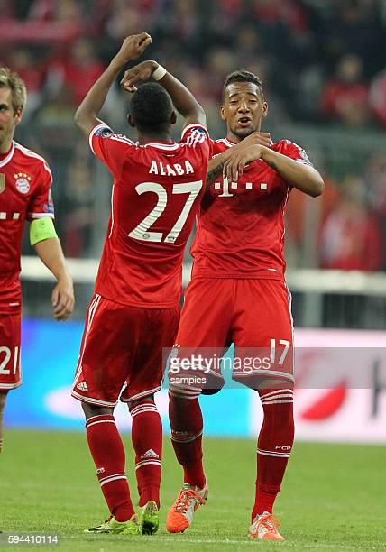 JUbeltanz von David ALABA FC Bayern München Jerome Boateng FC Bayern München Fussball Championsleague Quaterfinal Viertelfinale Saison 2013 / 2014 FC...