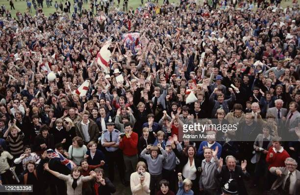 A jubiilant crowd of supporters gather to celebrate England's victory over Australia in the Third Ashes Test between England and Australia on 21st...