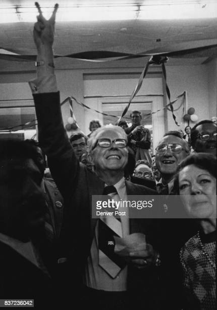 Jubilant Bill McNichols Flasher Victory Sign At News Of Win With him in the crowd of wellwishers was his wife Laverne right Credit Denver Post