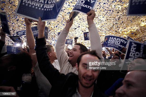 Jubilant crowd celebrates after Senator Harry Reid wins his election challenge against Tea Party backed Sharon Angle, at the Nevada Democratic...