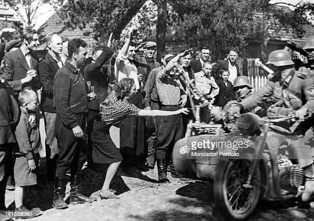 Jubilant crowd welcoming German army soldiers Vilnius 24th June 1941