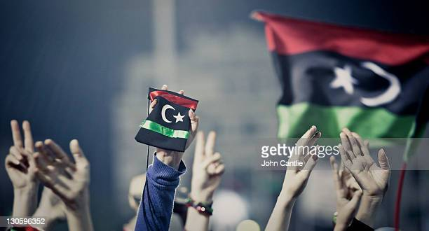 Jubilant crowds celebrate the liberation of Libya in Green Square on Sepmber 13, 2011 in Tripoli, Libya. NTC forces are continuing to advance on...