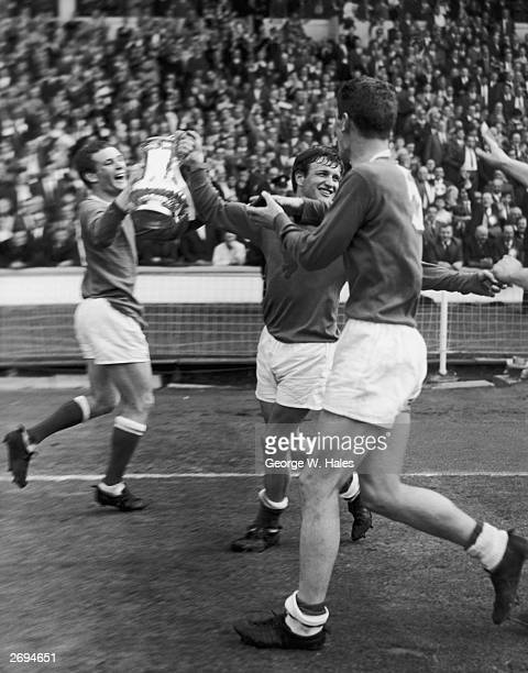 Jubilant Everton players do a lap of honour after beating Sheffield Wednesday 32 in the 1966 FA Cup final