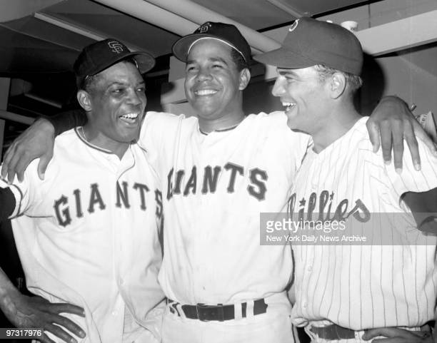 Jubilant NLers Giants' Willie Mays pitcher Juan Marichal of Giants and Phillies' Johnny Callison laugh it up after whipping ALers to deadlock AllStar...