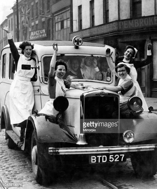 Jubilant nurses celebrate VEDay in Liverpool 8th May 1945