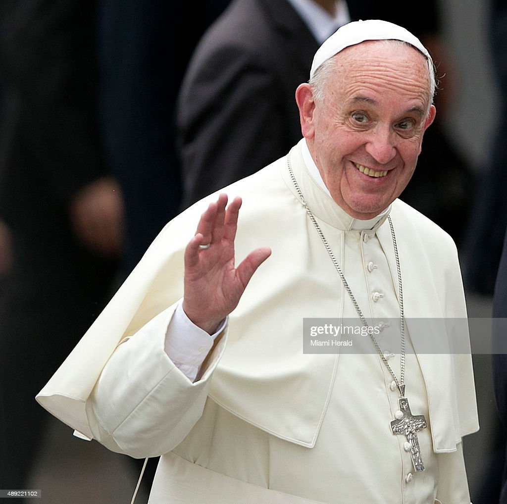 A jubilant Pope Francis arrives at the Jose Marti International Airport in Havana, Cuba, on Saturday, Sept. 19, 2015.