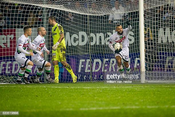 Jubilation after scoring of Bostock John midfielder of OHL during the Jupiler Pro League match between OHL OudHeverlee Leuven and KSC Lokeren Oost...