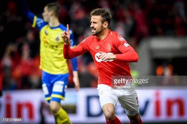 Jubilation after scoring of Orlando Sa forward of Standard Liege during the Jupiler Pro League match between Royal Standard de Liege and...