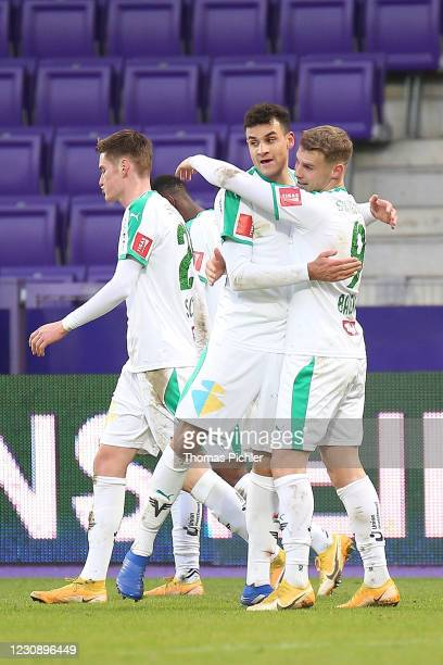 Jubilation by David Schnegg, goal scorer Raffael Behounek and Nikolai Baden Frederiksen of WSG Tirol during the tipico Bundesliga match between FK...