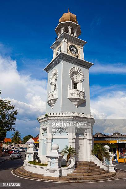 jubilee clock tower in george town, malaysia - george town penang stock photos and pictures