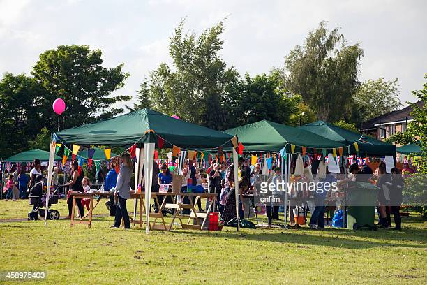 jubilee party, gazebos, flags and bunting - gala stock pictures, royalty-free photos & images