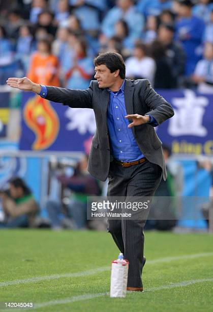 Jubilo Iwata head coach Adilson Dias Batista gestures during the 86th Emperor's Cup quarter final match between Urawa Red Diamonds and Jubilo Iwata...