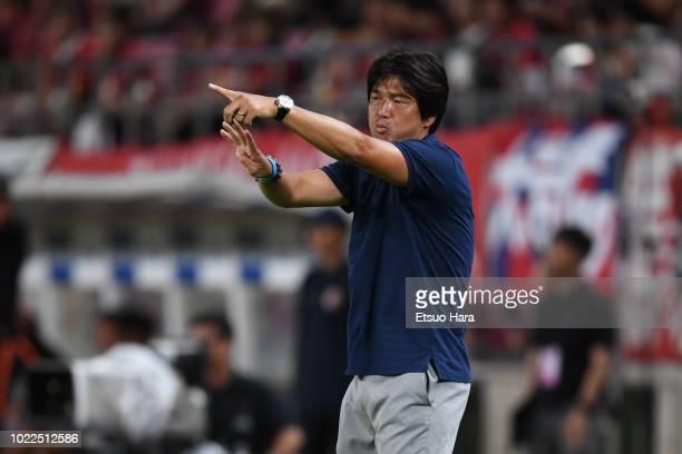Jubilo Iwata head coach Hiroshi Nanami gestures during the JLeague J1 match between Kashima Antlers and Jubilo Iwata at Kashima Soccer Stadium on...
