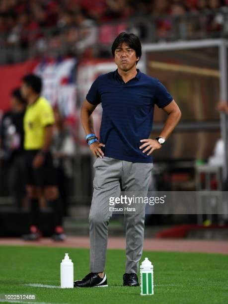 Jubilo Iwata head coach Hiroshi Nanami looks on during the JLeague J1 match between Kashima Antlers and Jubilo Iwata at Kashima Soccer Stadium on...